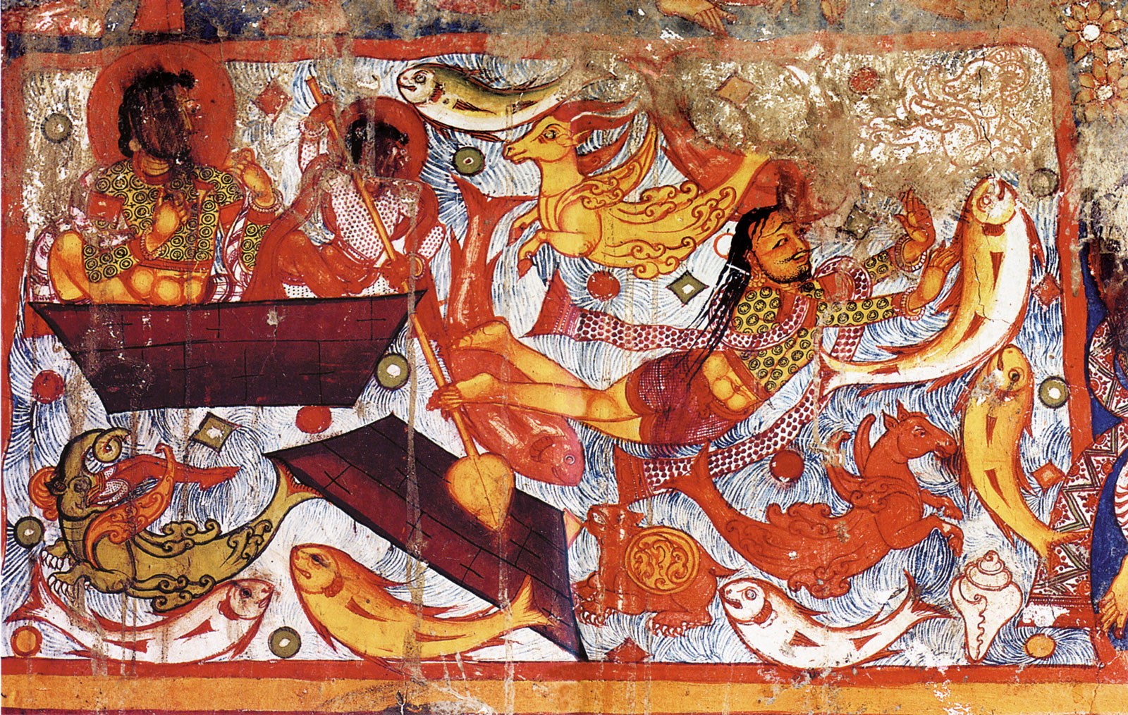 Avalokiteshvara painting of a fisherman in distress during a storm, in the northeast stupa of the Mother Monastery in Tholing, Kashmiri origin, possibly of the foundation period