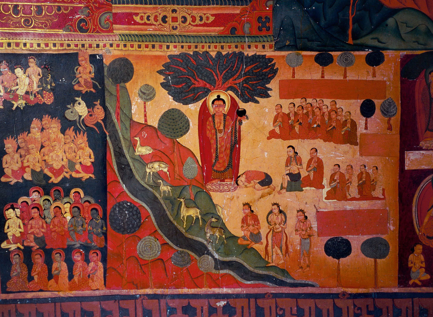 Painting showing the story of the Conversion of the Householder Yasa, who became a mendicant and was established as an Arhat, in the Red Temple in Tsparang, Guge, 1436-1449 (?)