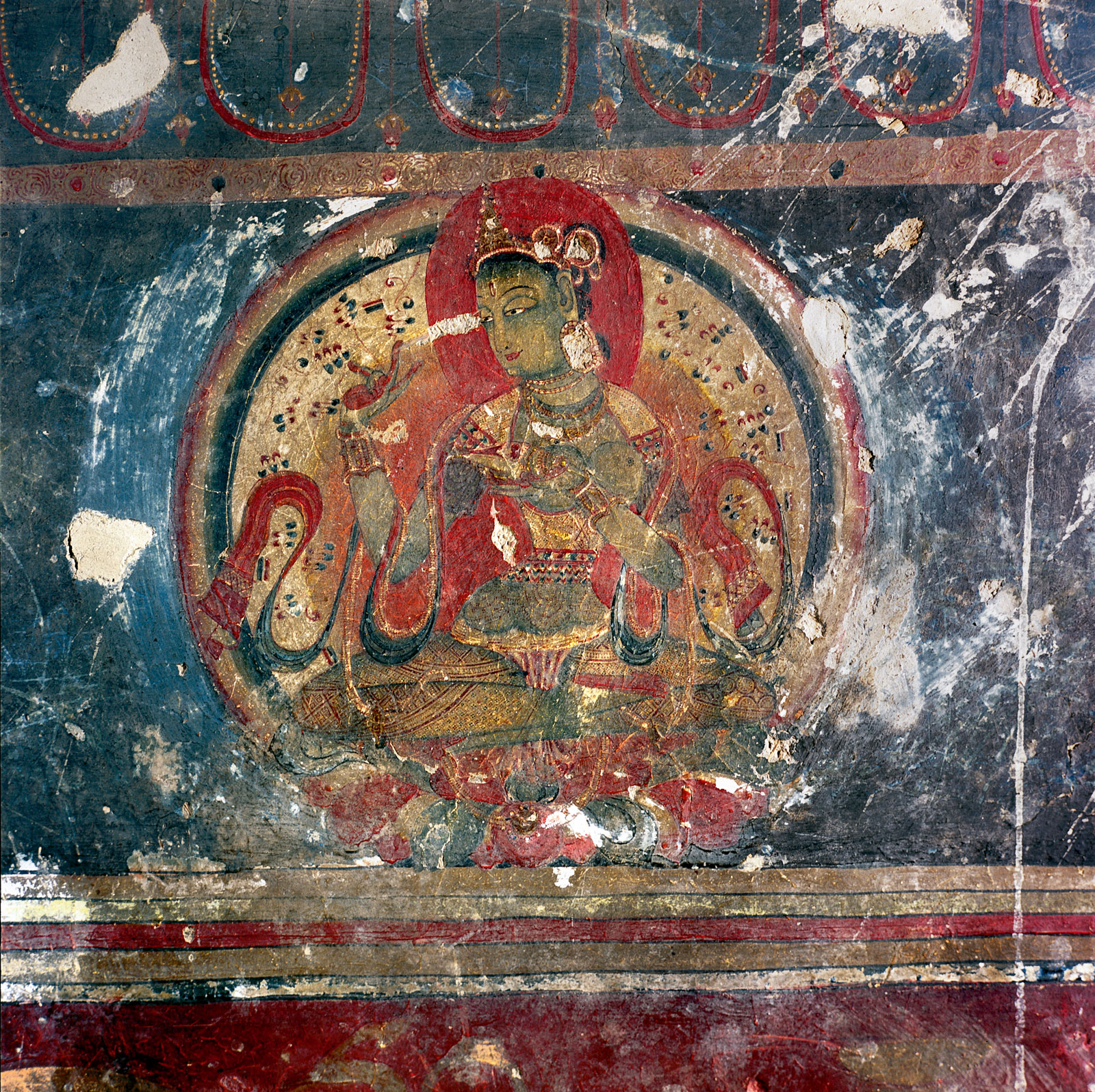 Detail of a wall painting showing the inner offering goddess Gandha holding a shell filled with perfume, Nako, late eleventh or early twelfth century