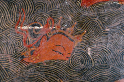 Detail of the swimming competition for Gopa, in the Red Assembly Hall, Tholing, 1436-1449