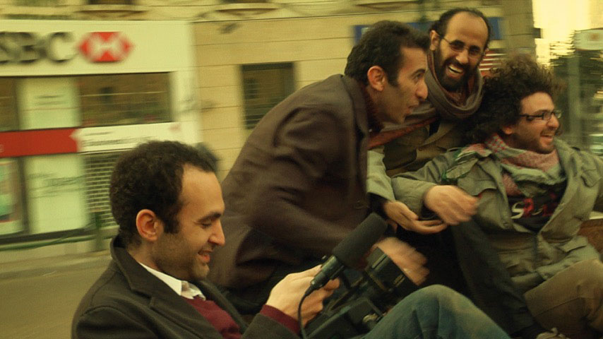 Khalid Abdalla with three filmmaker friends in El Said's <em>In the Last Days of the City</em>, 2016