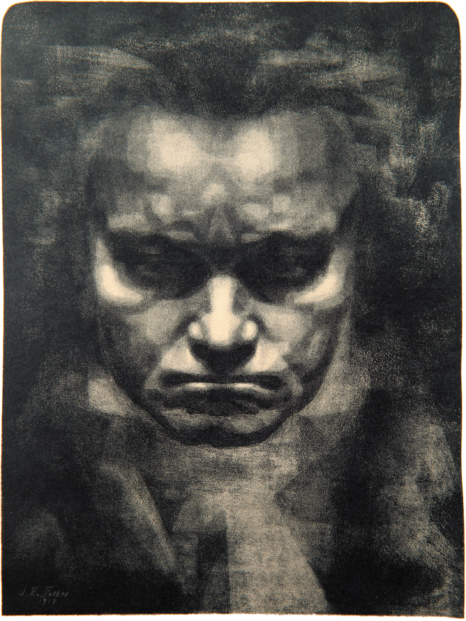 'Head of Beethoven'; lithograph by Johannes Hendricus Fekkes, 1918; from The Art of Music, the catalog of a recent exhibition at the San Diego Museum of Art, published by Yale University Press