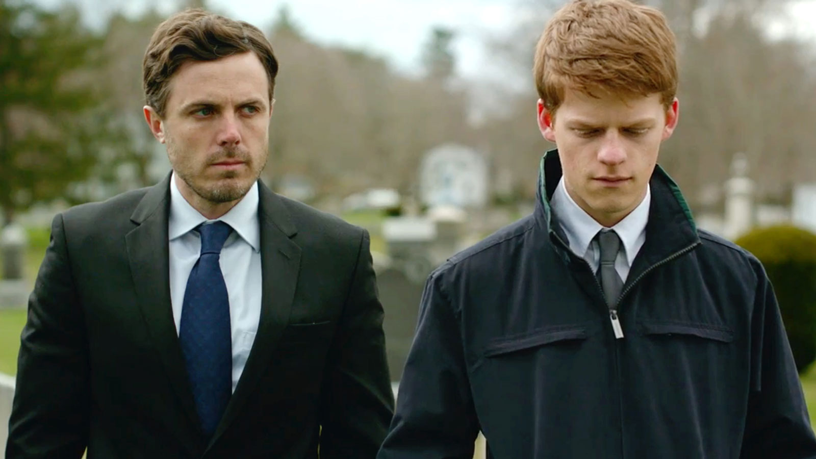 Affleck as Lee and Lucas Hedges as Patrick in Manchester by the Sea , 2016