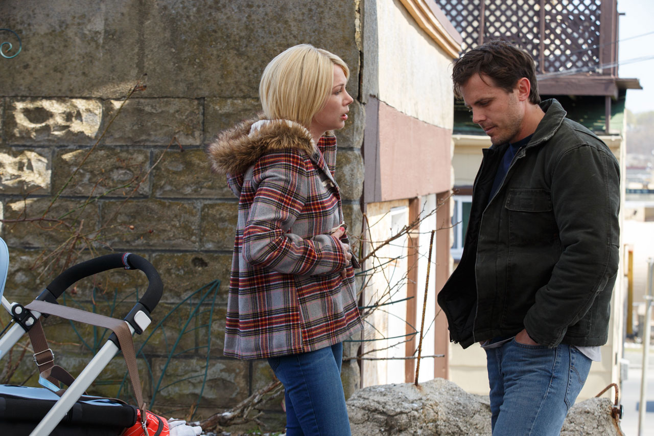 Michelle Williams as Randi Chandler and Affleck as Lee Chandler in Manchester by the Sea , 2016