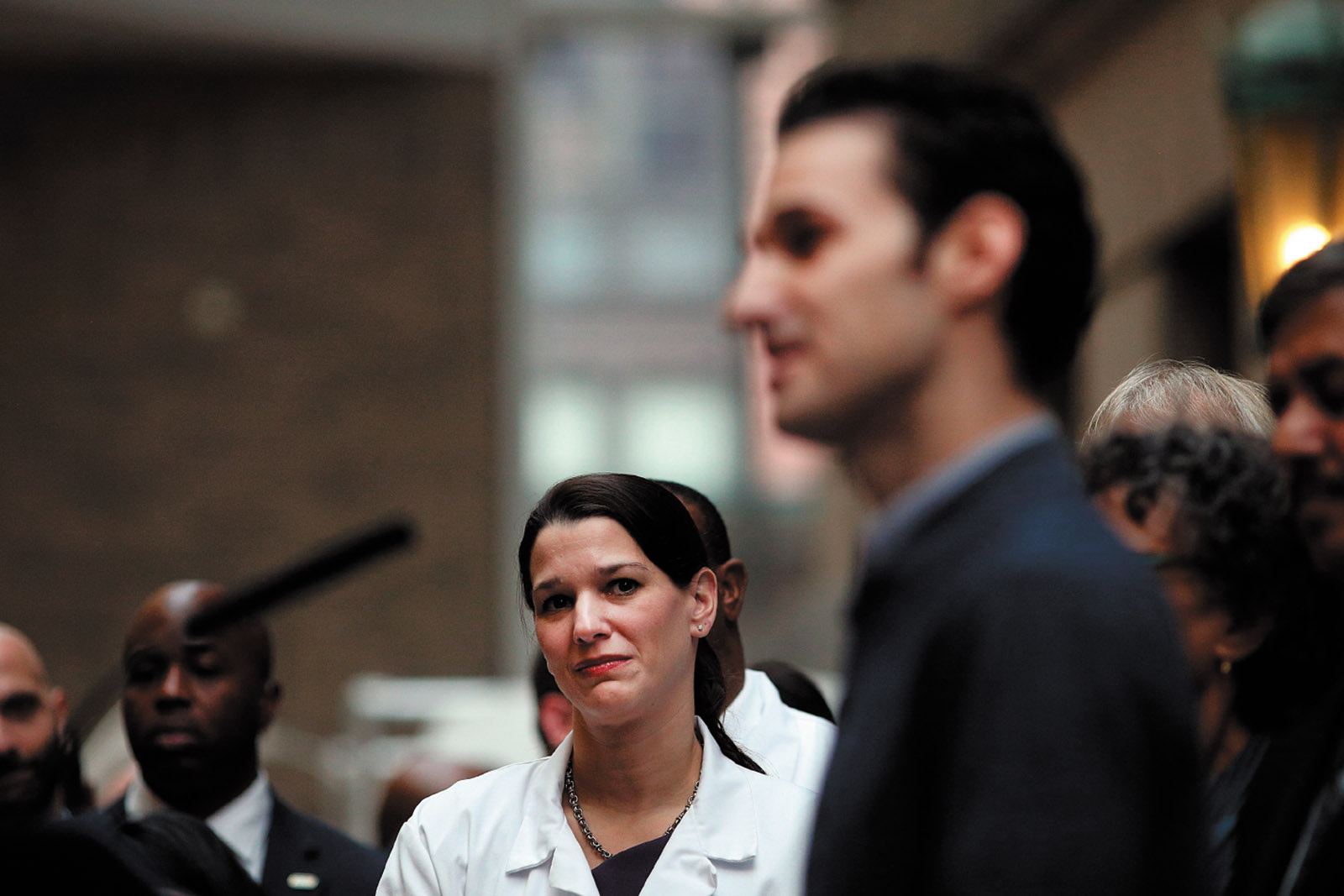 Dr. Laura Evans, leader of the Bellevue Hospital team that successfully treated Dr. Craig Spencer (right) for the Ebola virus, which he had contracted while treating patients in Guinea, West Africa, November 2014