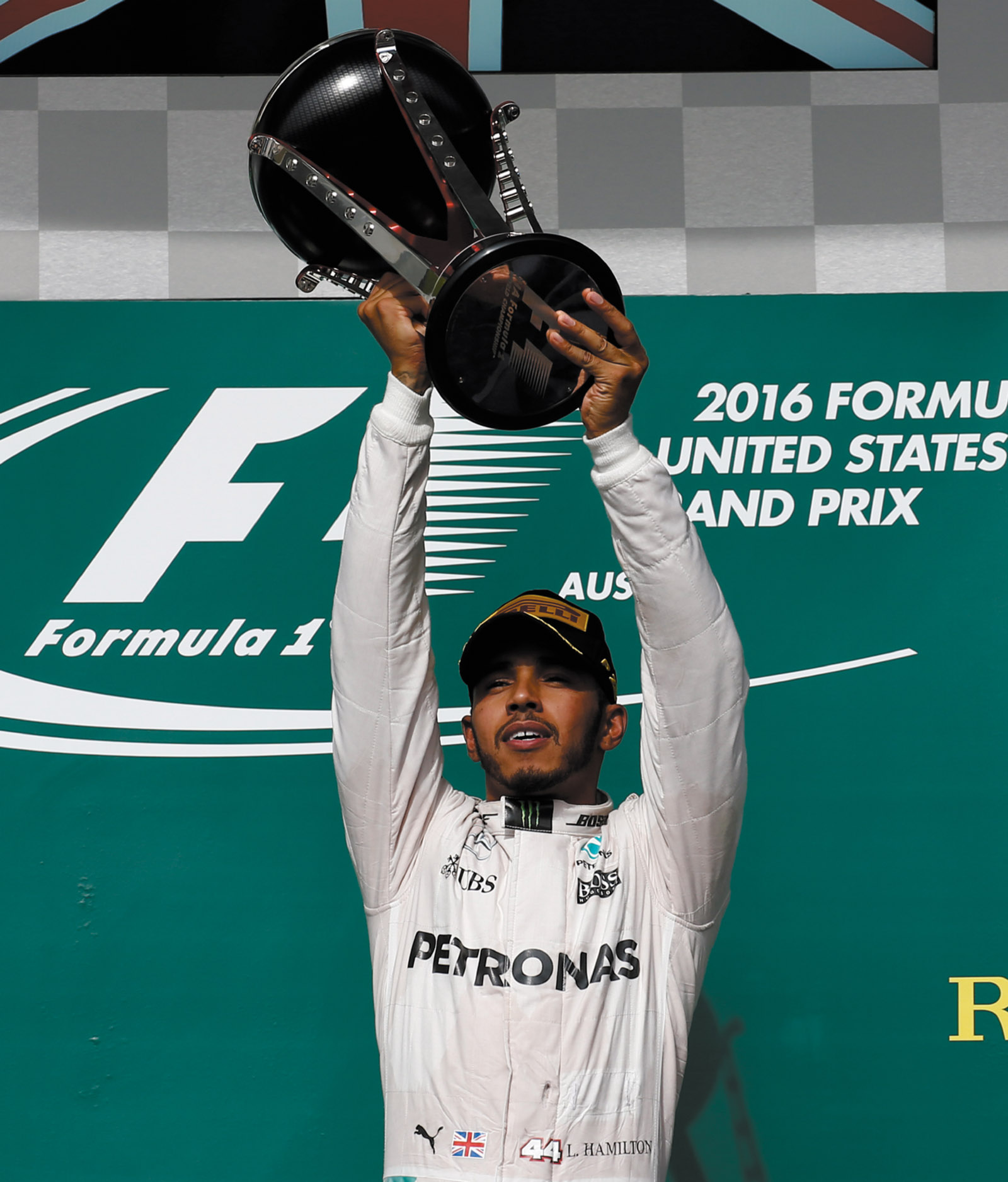 Lewis Hamilton, winner of the USA Formula One Grand Prix at the Circuit of the Americas, Austin, Texas, October 2016
