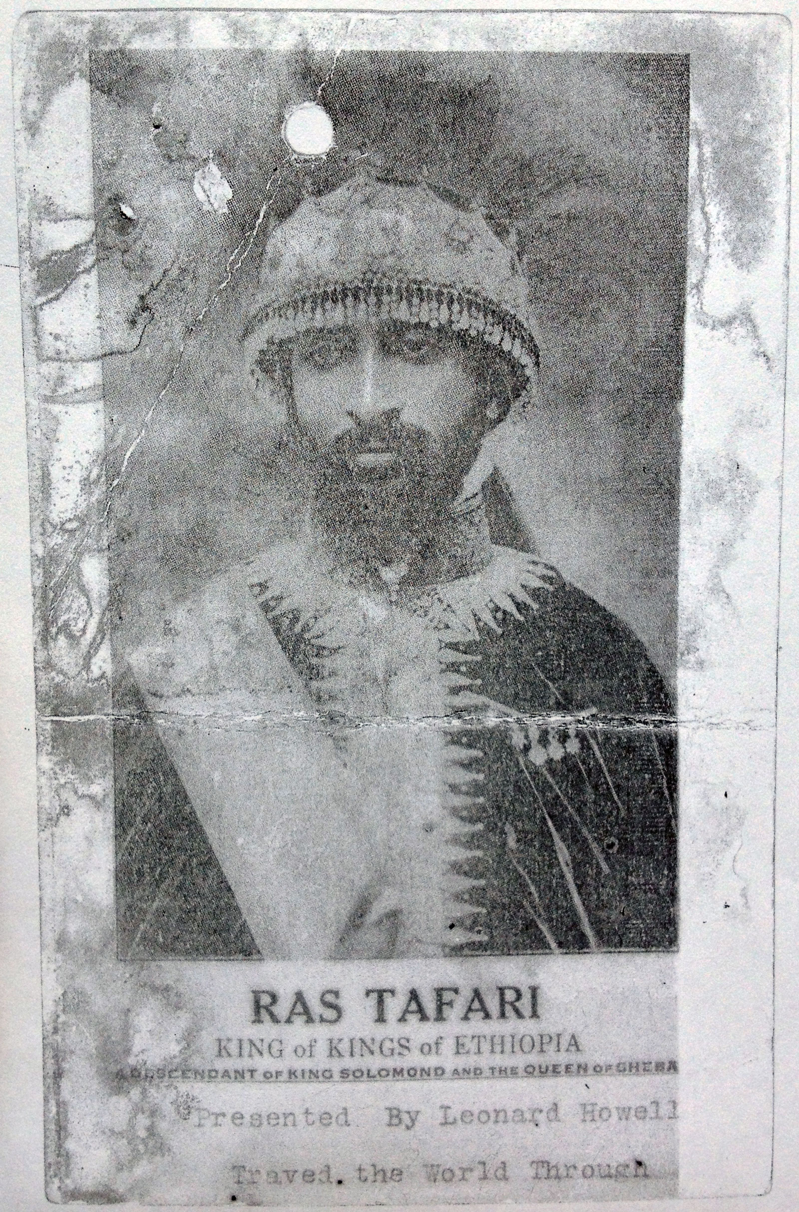 Pamphlet with image of Haile Selassie, distributed by Leonard Howell at his public meetings, circa 1935