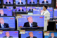Donald Trump during the first presidential debate, Seoul, South Korea, September 27, 2016