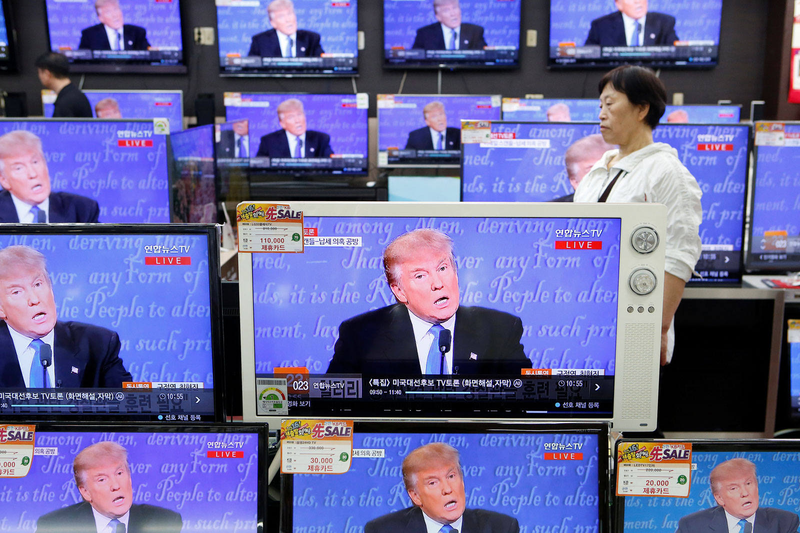 Donald Trump on television screens in Seoul, South Korea, September 27, 2016