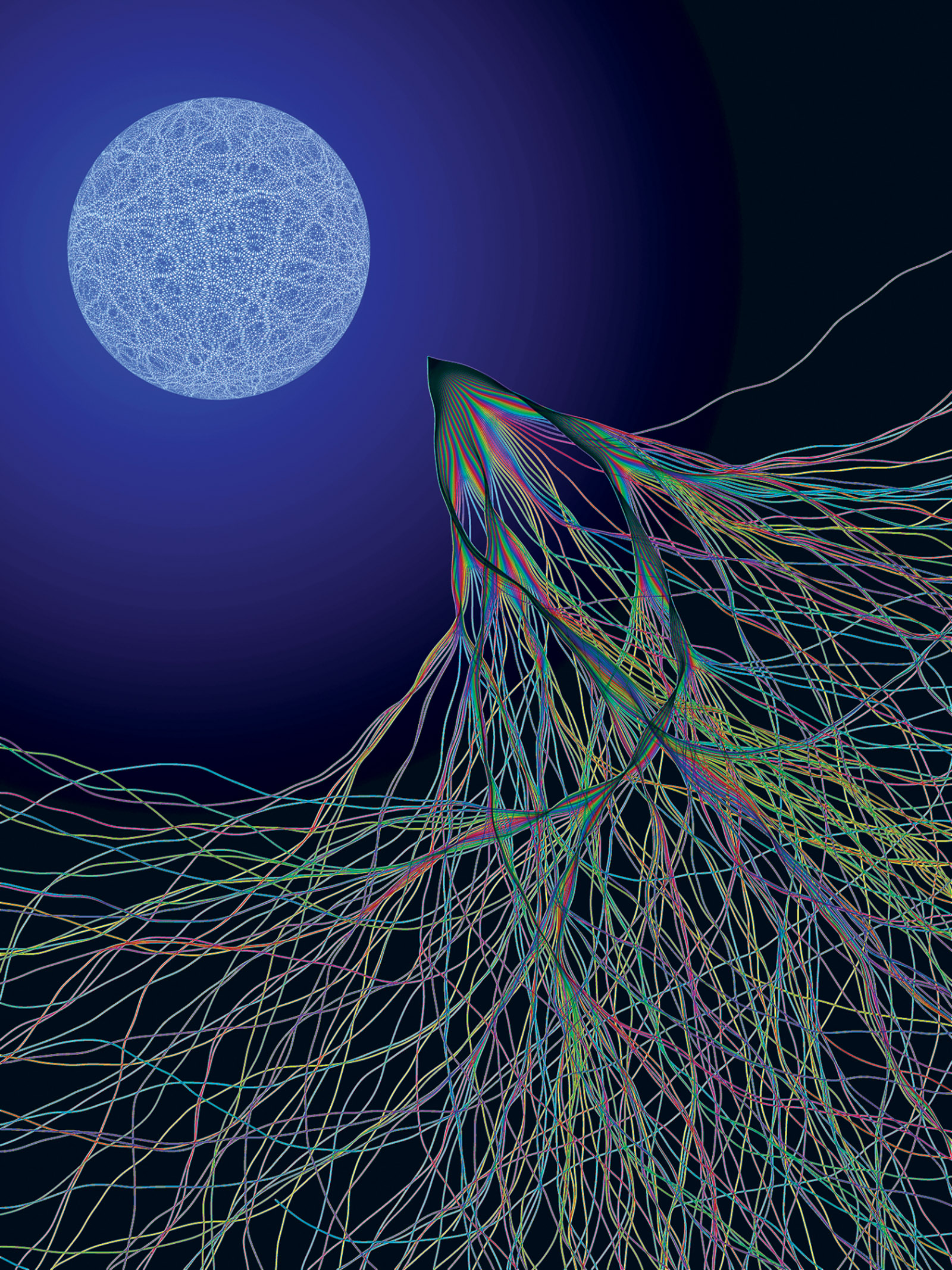 The physicist Eric J. Heller's Transport XIII (2003), inspired by electron flow experiments conducted at Harvard. According to Heller, the image 'shows two kinds of chaos: a random quantum wave on the surface of a sphere, and chaotic classical electron paths in a semiconductor launched over a range of angles from a particular point. Even though one is quantum mechanical and the other classical, they are related: the chaotic classical paths cause random quantum waves to appear when the classical system is solved quantum mechanically.'