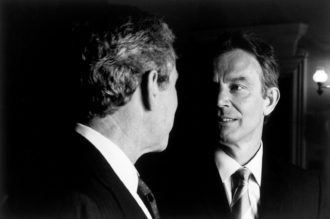 George W. Bush and Tony Blair at Hillborough Castle, near Belfast, Northern Ireland, April 2003
