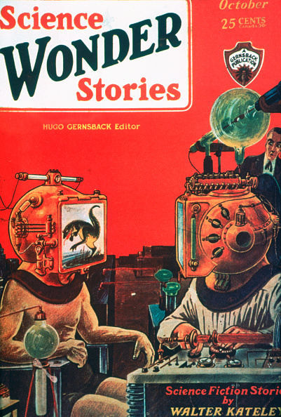 The October 1929 cover of Gernsback's <em>Science Wonder Stories</em> magazine