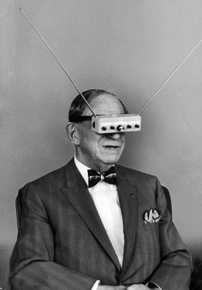 """Gernsback wearing """"TV glasses,"""" 1963"""