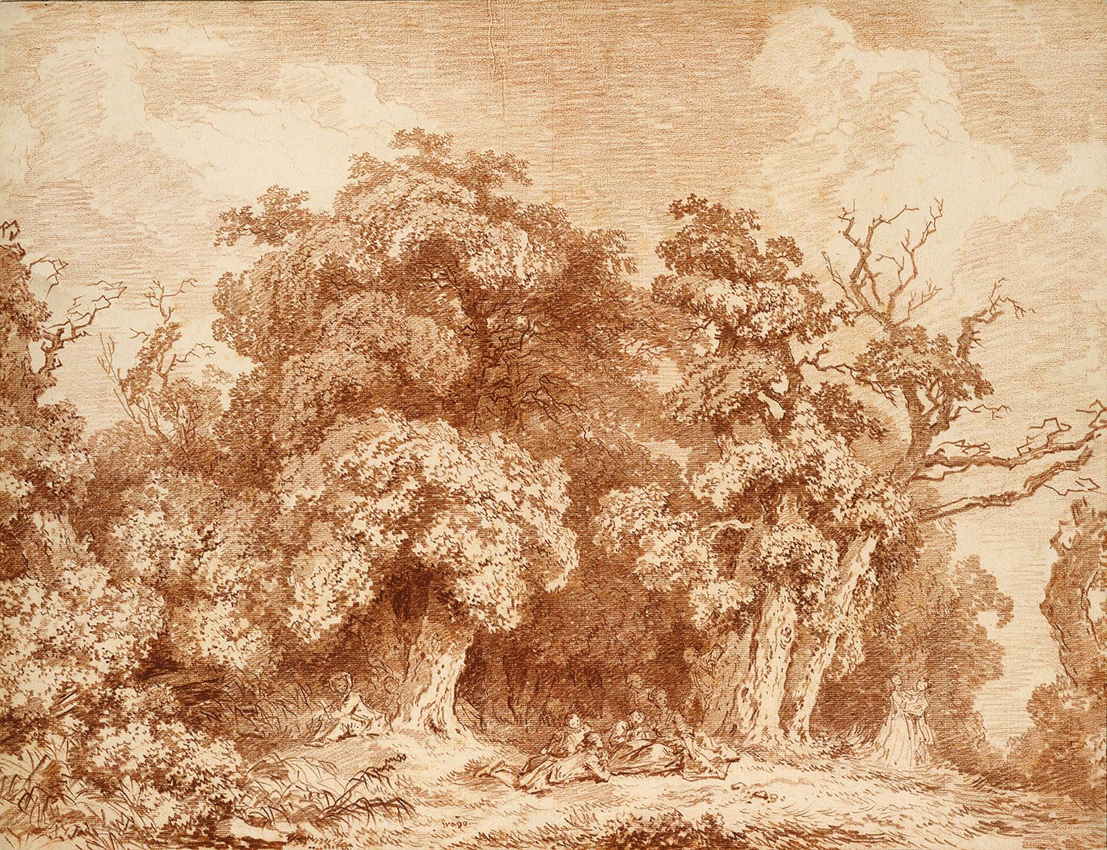 Jean-Honoré Fragonard: A Gathering at Wood's Edge, circa 1770–1773