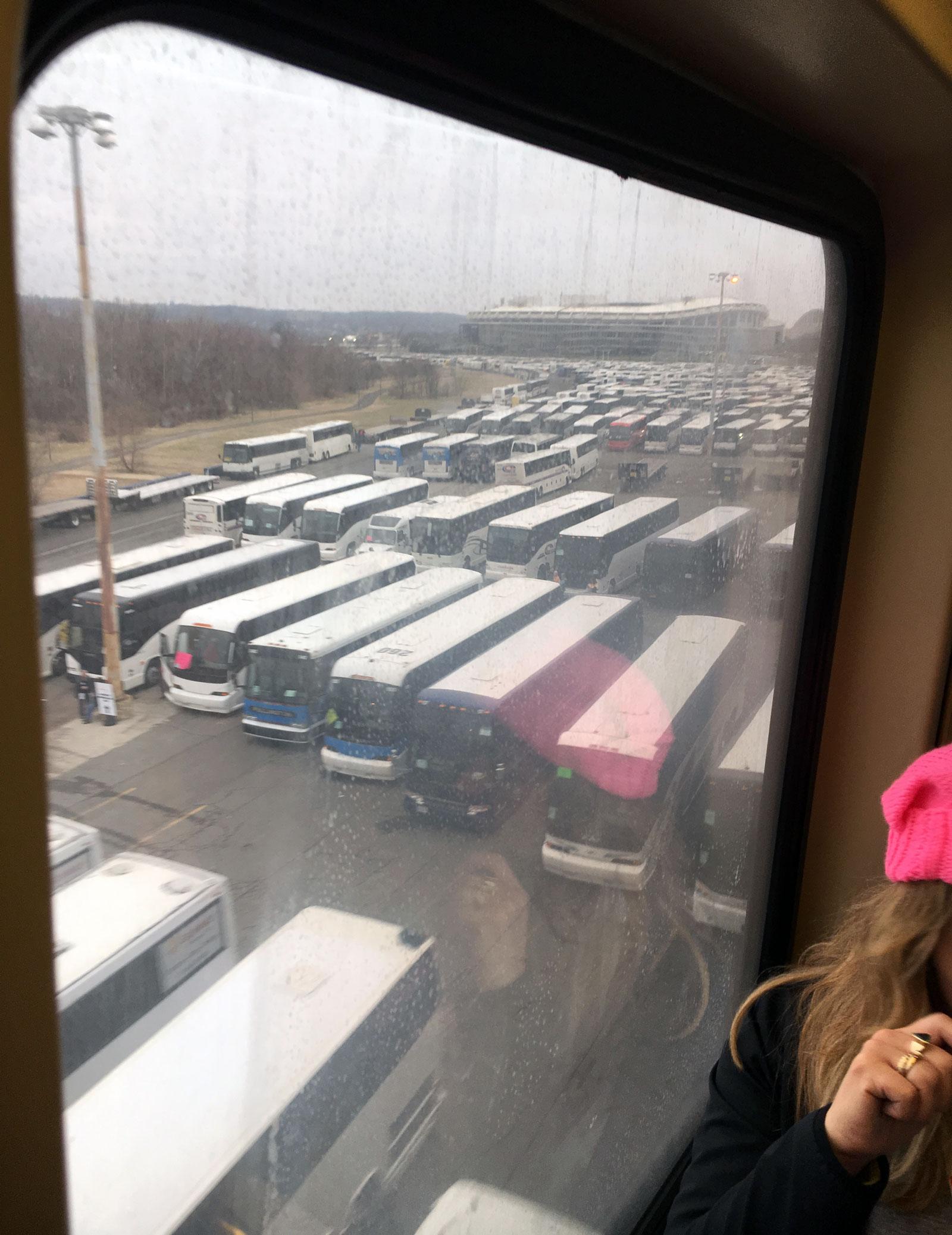 Buses at RFK Stadium, Washington, D.C, Saturday, January 21