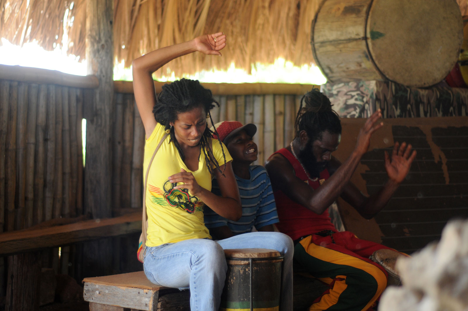 Donisha Prendergast and others drumming in the style of Kumina, the Afro-Jamaican religion that Howell incorporated into Rastafari practice, at Pinnacle, St. Catherine, Jamaica, circa 2010
