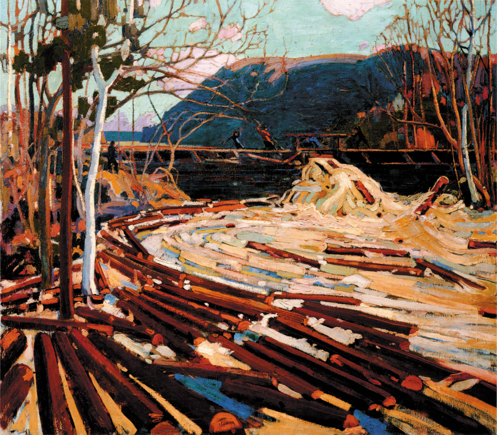 Tom Thomson: The Drive, showing the movement of logs downstream along the South River, near Algonquin Park, Ontario, 1916–1917; from Picturing the Americas: Landscape Painting from Tierra del Fuego to the Arctic, the catalog of a recent exhibition organized by the Art Gallery of Ontario, the Pinacoteca do Estado de São Paulo, and the Terra Foundation of American Art, and published by Yale University Press