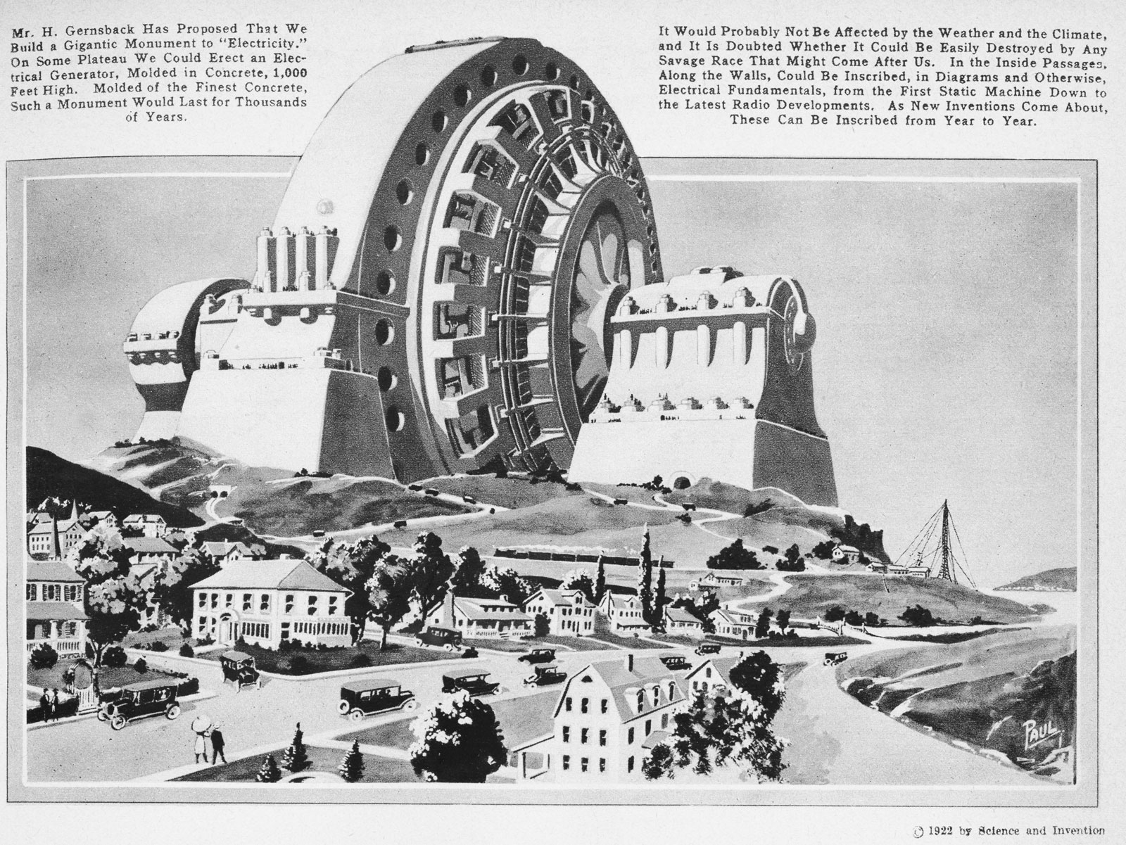 """Gernsback's proposal for a """"Gigantic Monument to Electricity,"""" from <em>Science and Invention</em>, October, 1922"""