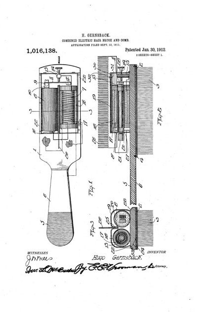 Patent for Gernsback's electrical hairbrush, 1912