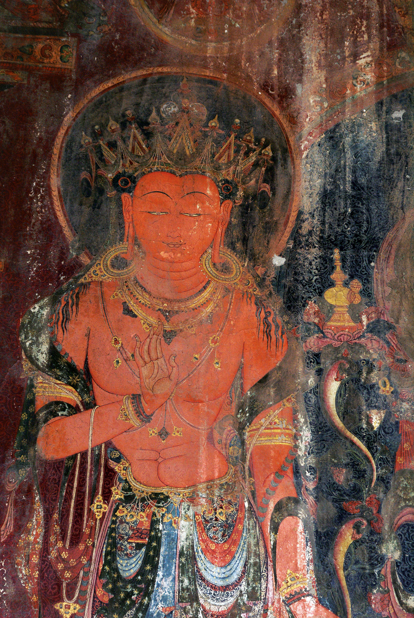 Detail of a wall painting showing the bodhisattva Maitreya on the south wall of the Red Assembly Hall, Tholing, 1436-1449