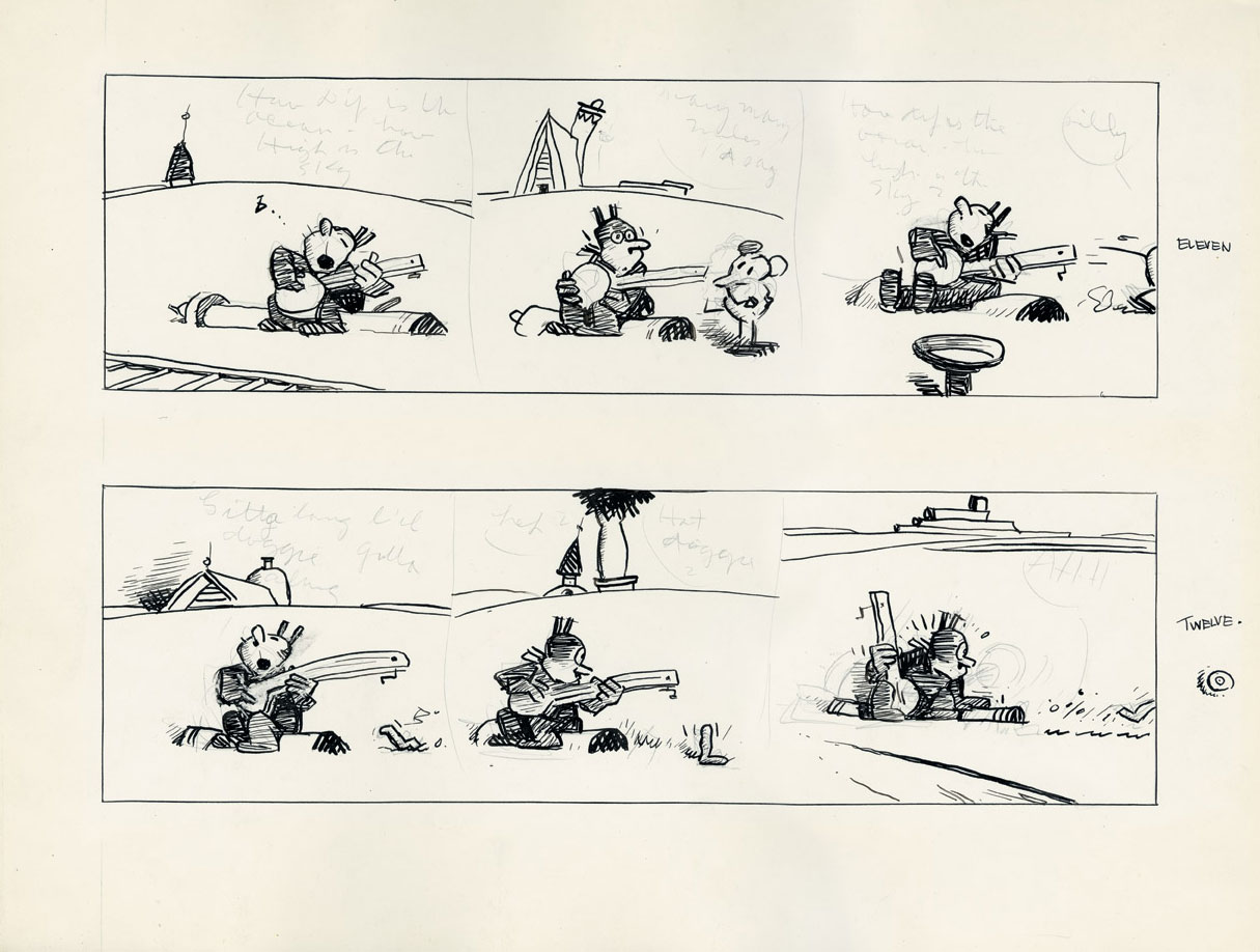 A <em>Krazy Kat</em> strip left unfinished at Herriman's death, April 1944