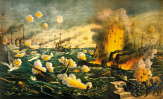 'The Great Naval Battle Off Cavite (Manila Bay),' in which the US squadron led by Commodore George Dewey defeated the Spanish fleet in the first major engagement of the Spanish-American War, May 1, 1898