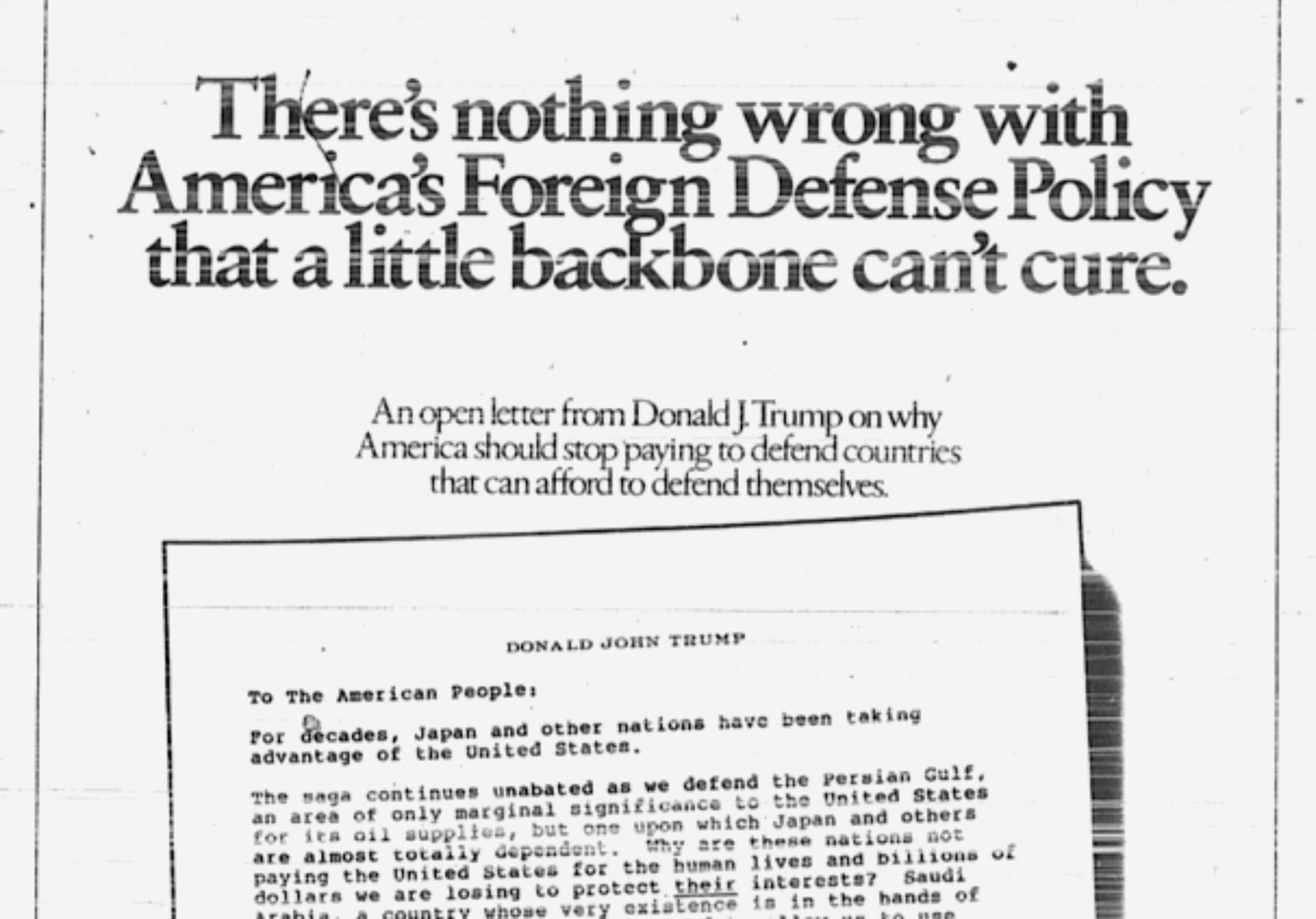 Detail of the full-page ad placed by Donald Trump in The New York Times, September 1987