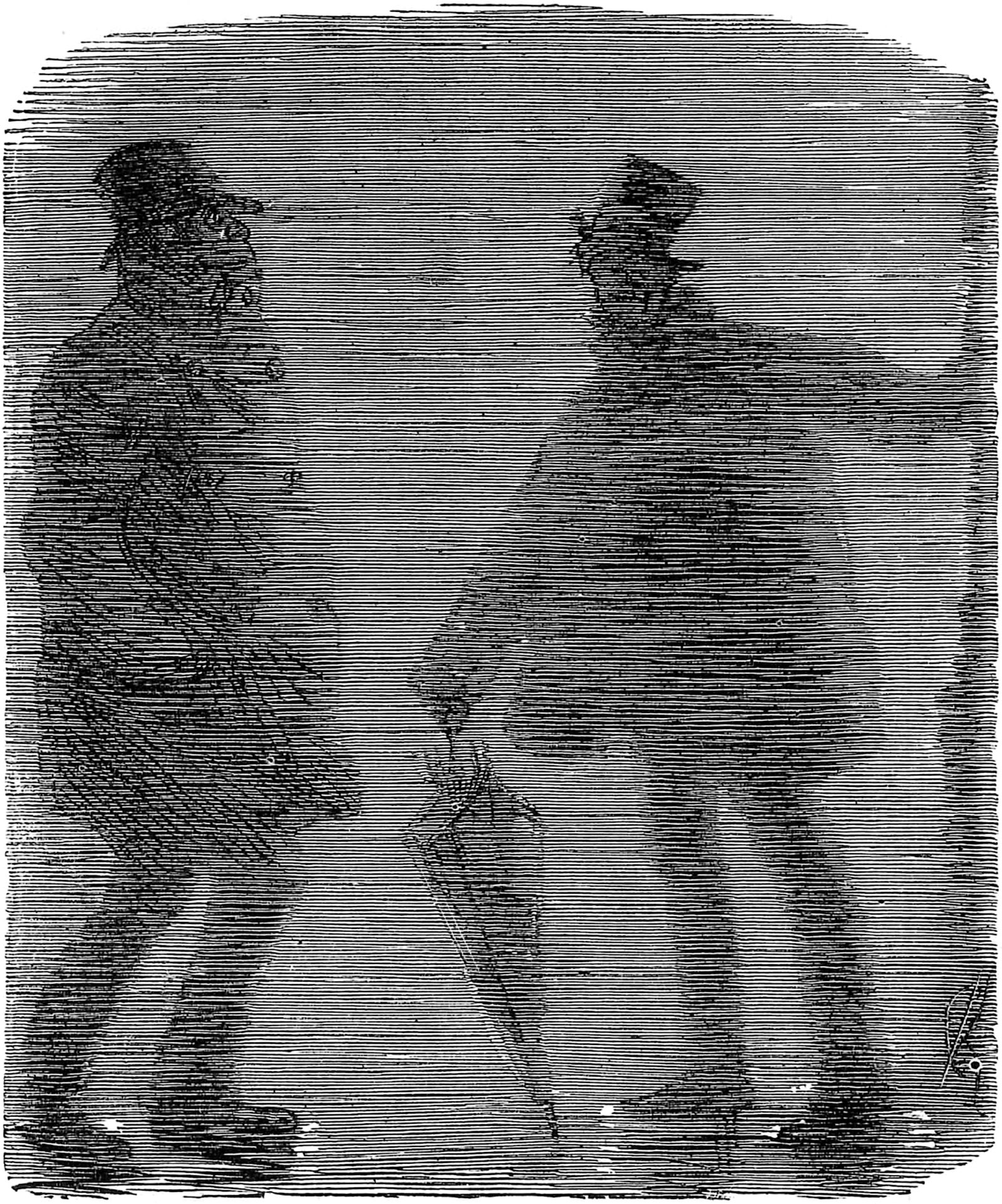 "'Be-Fogged'; cartoon by Charles Keene from Punch, 1880. The caption says: 'Polite Old Gentleman (in the Fog). ""Pray, Sir, can you kindly tell me if I'm going right for London Bridge?"" Shadowy Stranger. ""Lum Bri'gsh? Goo' Joke! 'Nother Man 'shame Shtate's myshelf! I wan' t' fin' Lum Bri'gsh, too! Ta' my Arm—"" [Old Gent hurries off!]'"