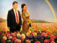 Chinese President Xi Jinping and his wife Peng Liyuan in a painting that has been circulating on the Internet