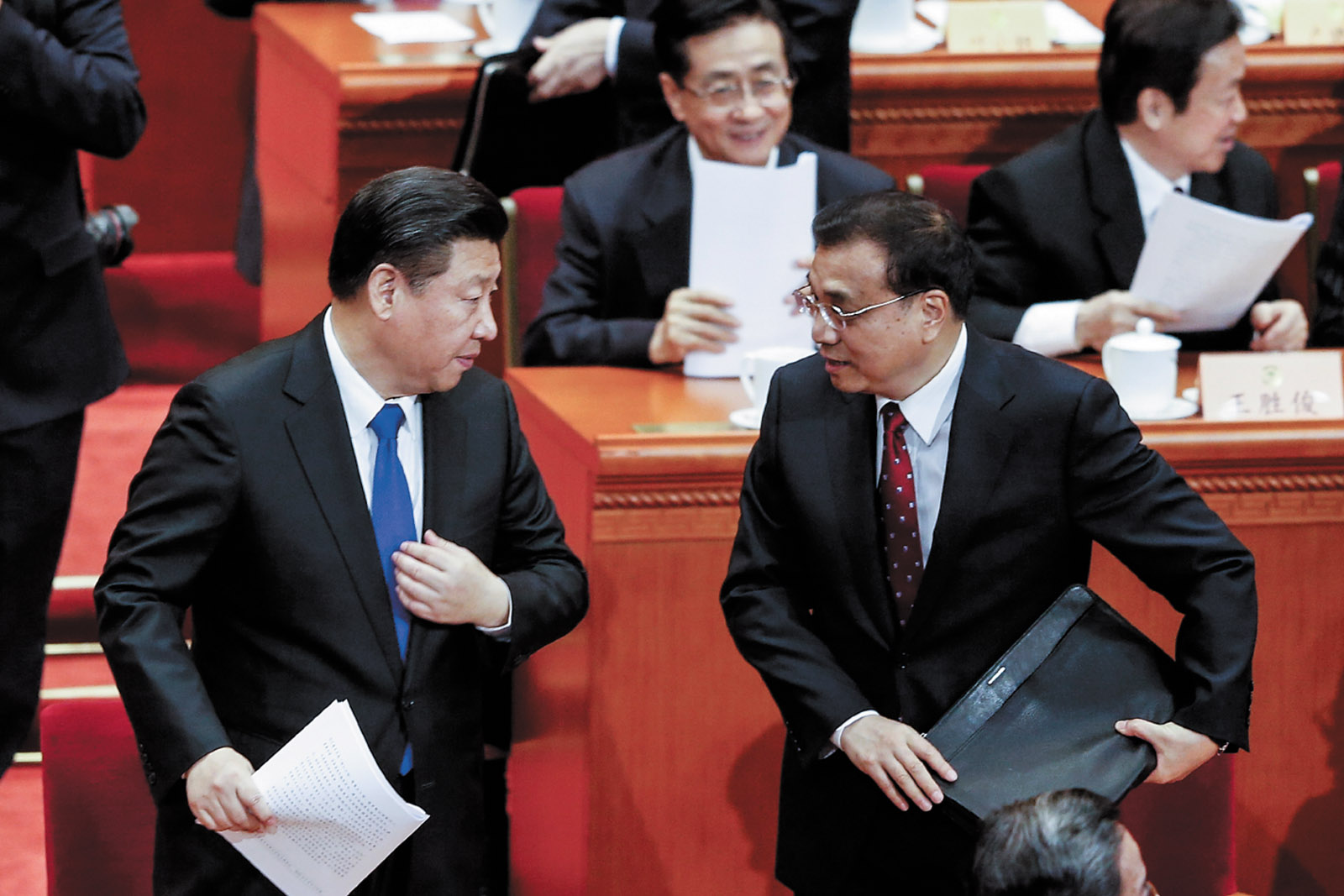 President Xi Jinping and Premier Li Keqiang at the opening session of the Chinese People's Political Consultative Conference, Beijing, March 2016