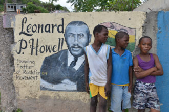 A mural of Leonard Howell in Tredegar Park, near where the first Rastafari community was formed in the 1930s, Spanish Town, Jamaica, January 4, 2014