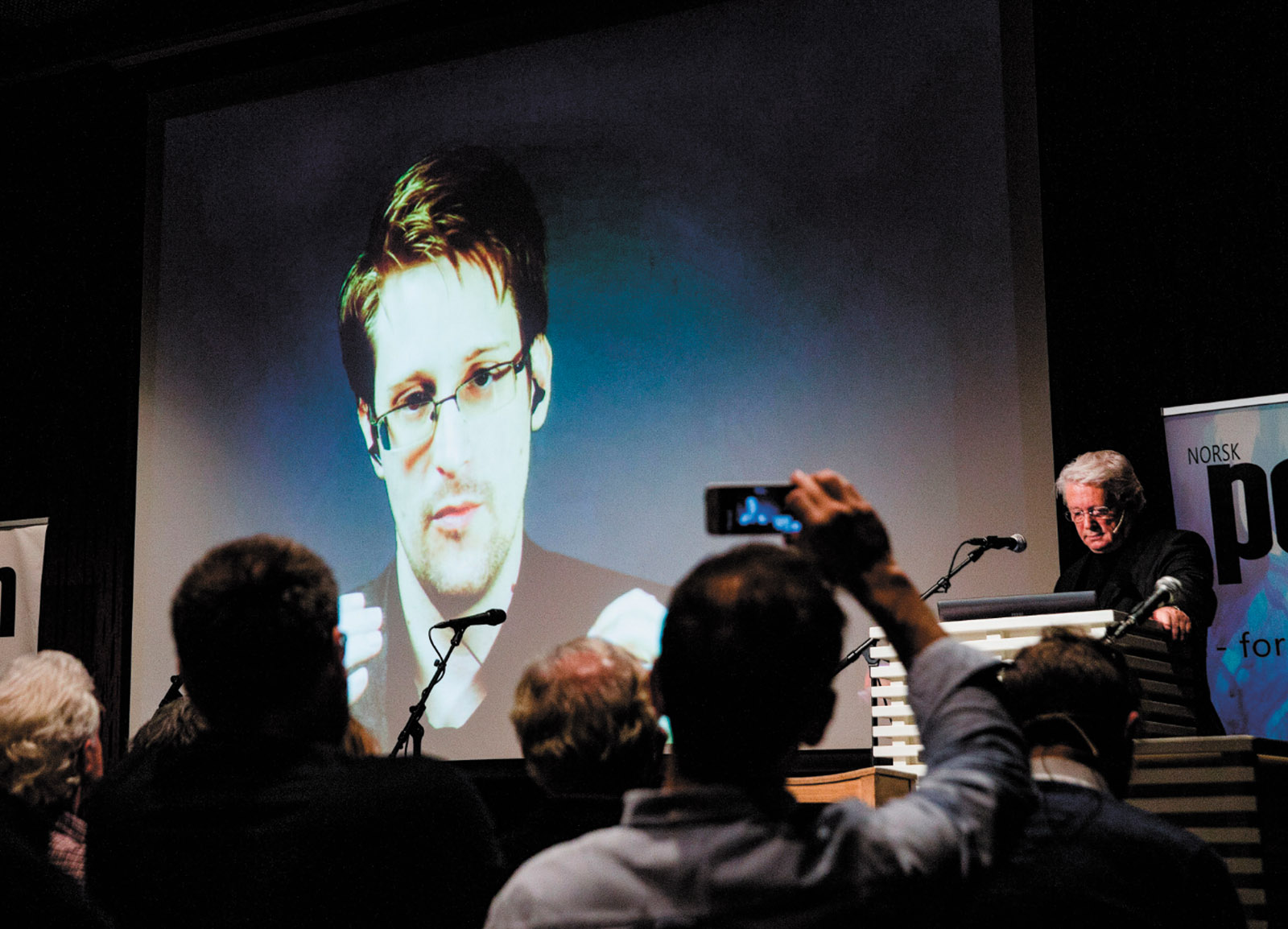 Edward Snowden seen live from Moscow at the Norwegian PEN event 'Waiting for Snowden,' where he was awarded the Ossietzky Prize for 'outstanding contributions to freedom of expression,' Oslo, November 2016