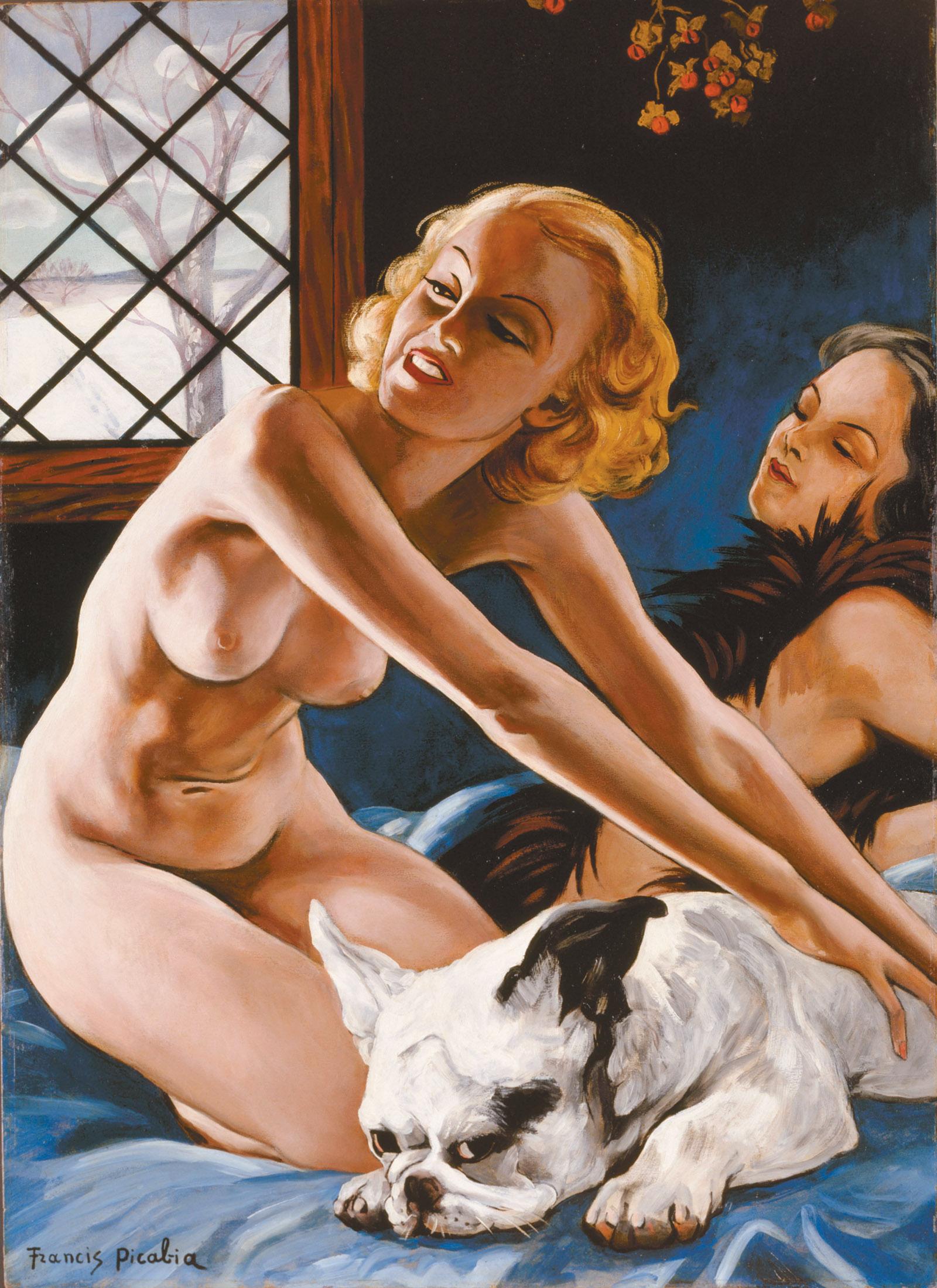 Francis Picabia: Femmes au bull-dog (Women with Bulldog), 41 3/4 x 29 15/16 inches, circa 1941
