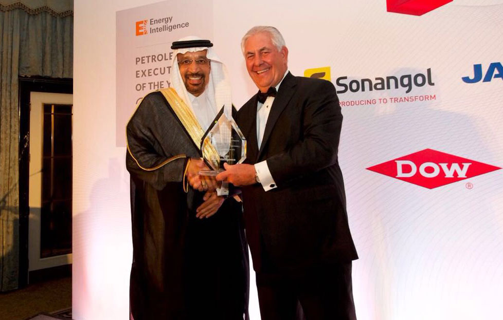 Khalid A. Al-Falih, Saudi Arabia's oil minister, and Rex Tillerson, former chairman and chief executive officer of ExxonMobil, October, 2016
