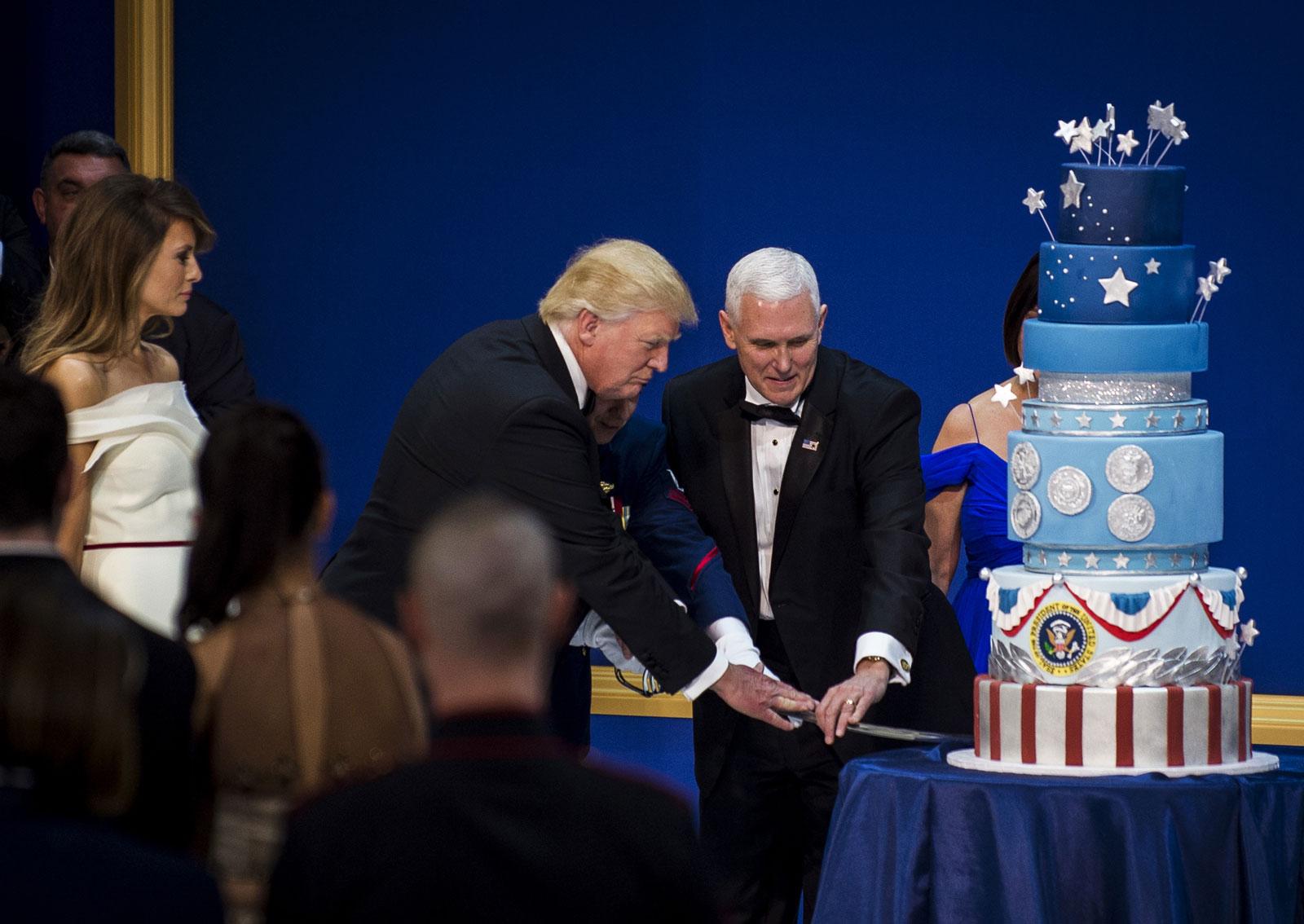 First Lady Melania Trump, President Donald Trump, and Vice President Mike Pence, Washington, D.C., January 20, 2017