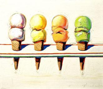 Wayne Thiebaud: Four Ice Cream Cones, 1964