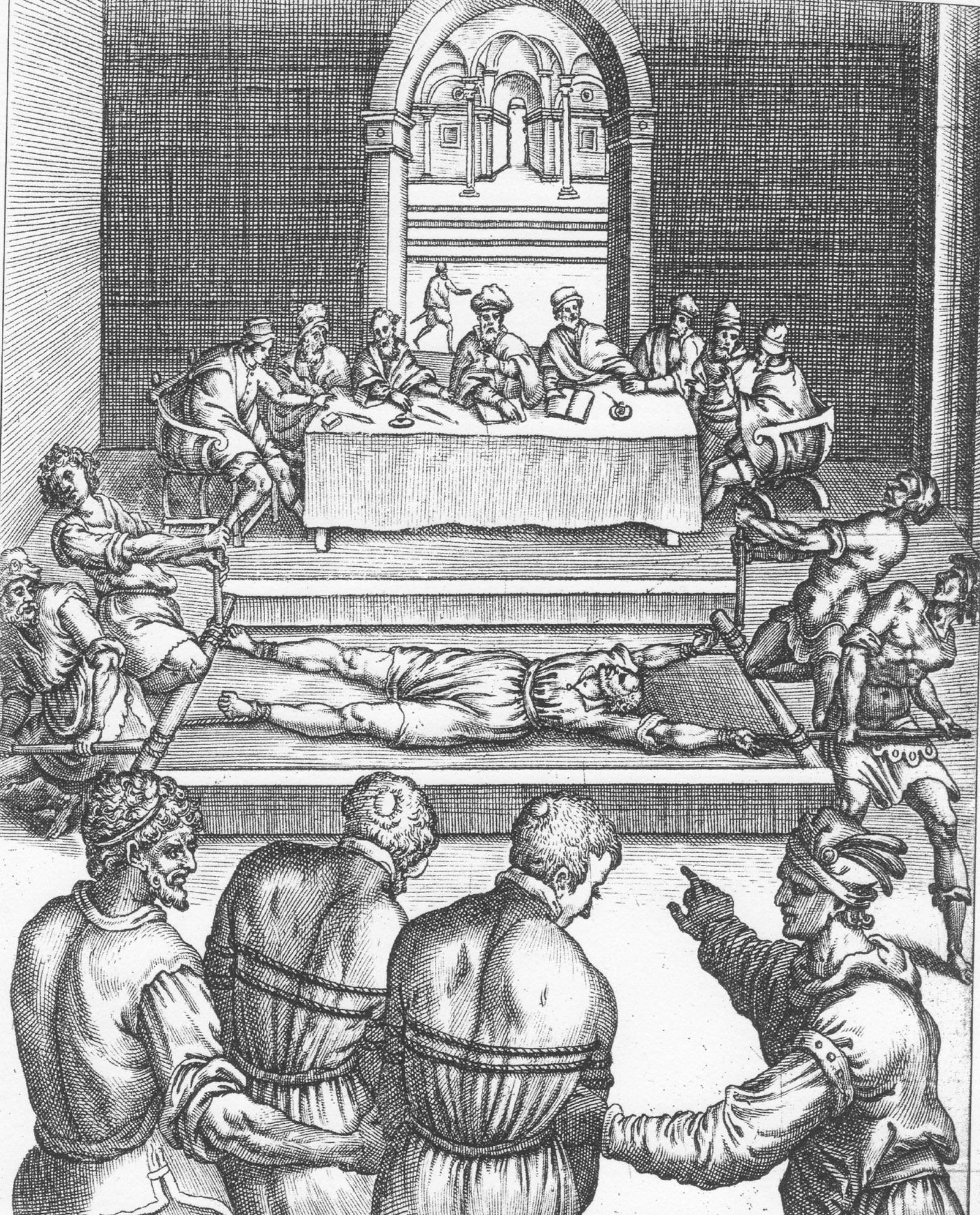 'Edmund Campion on the Rack'; engraving by Niccolò Circignani from Ecclesiae Anglicanae Trophaea, 1584