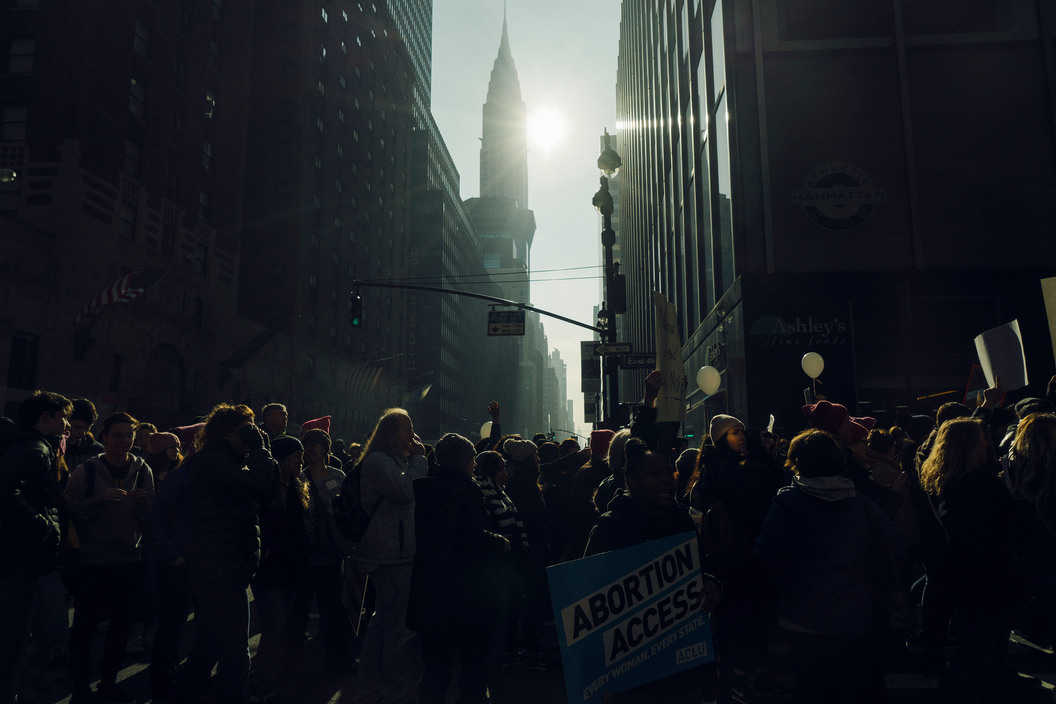Protesters at the Women's March, Manhattan, January 21, 2017