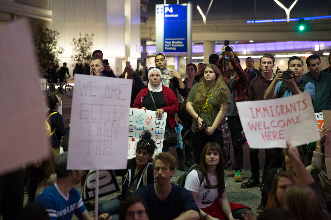 Protesters at Los Angeles International Airport, January 28, 2017