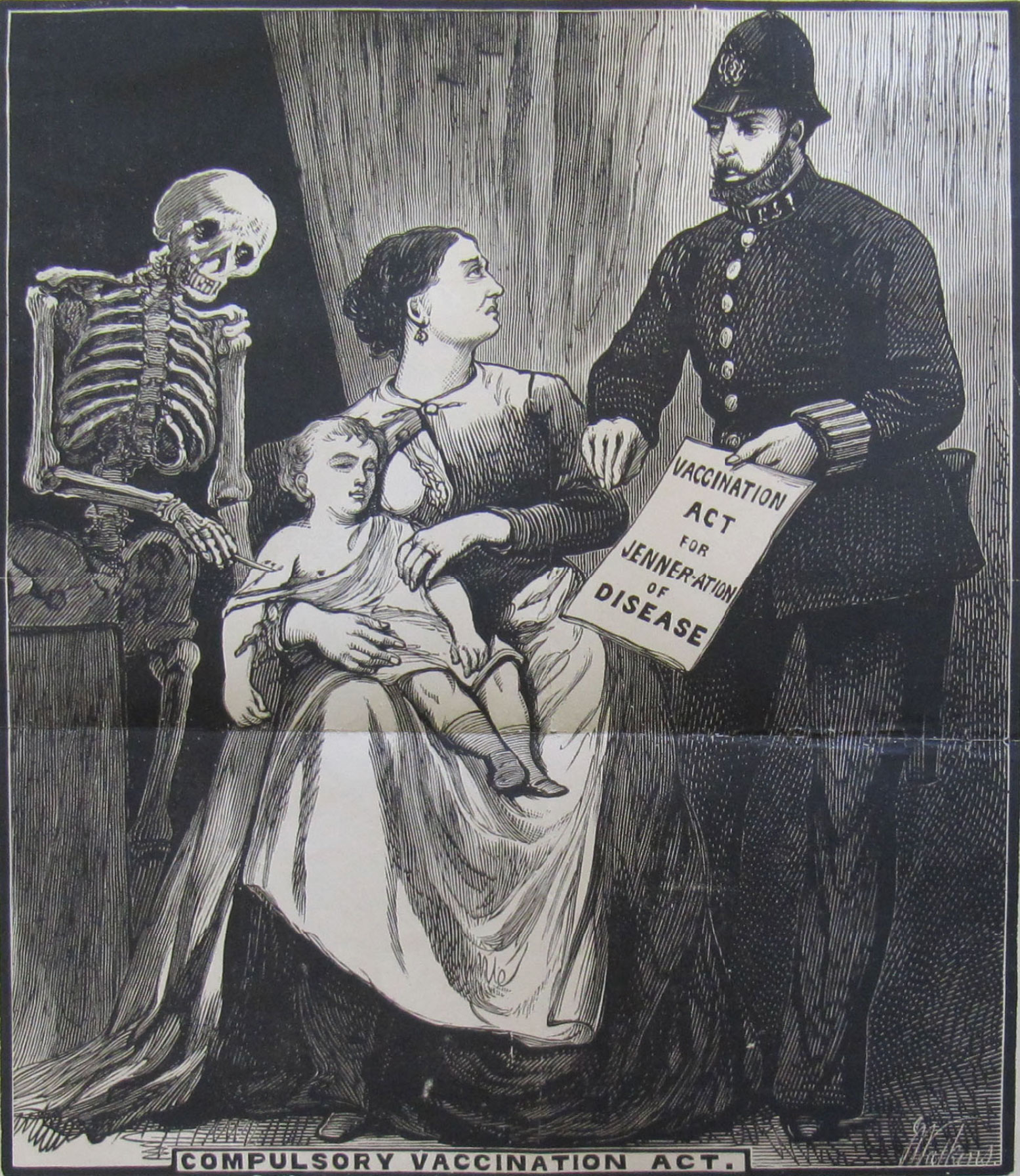 """Death the Vaccinator,"" an engraving published by the London Society for the Abolition of Compulsory Vaccination, late nineteenth century"