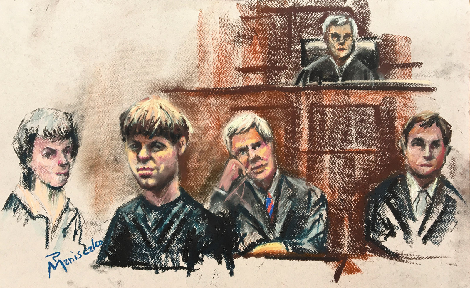 Dylann Roof (second from left) during the initial stage of jury selection for his trial for the murder of nine worshipers at the Emanuel African Methodist Episcopal Church, Charleston, South Carolina, September 2016
