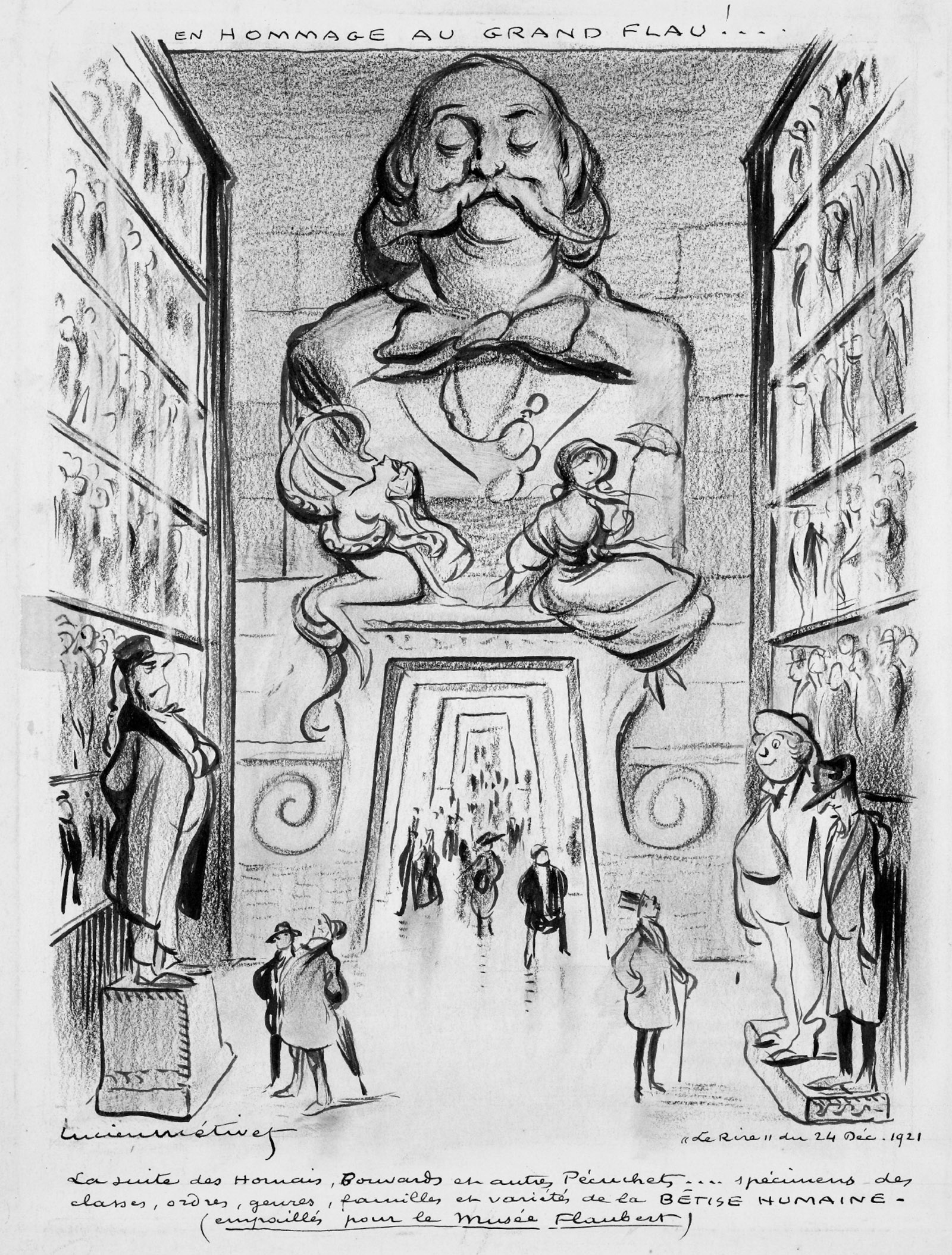 'Homage to the Great Flau!'; drawing by Lucien Métivet for Le Rire on the occasion of Flaubert's centenary, December 1921