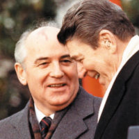 Mikhail Gorbachev and Ronald Reagan at the White House, December 1987