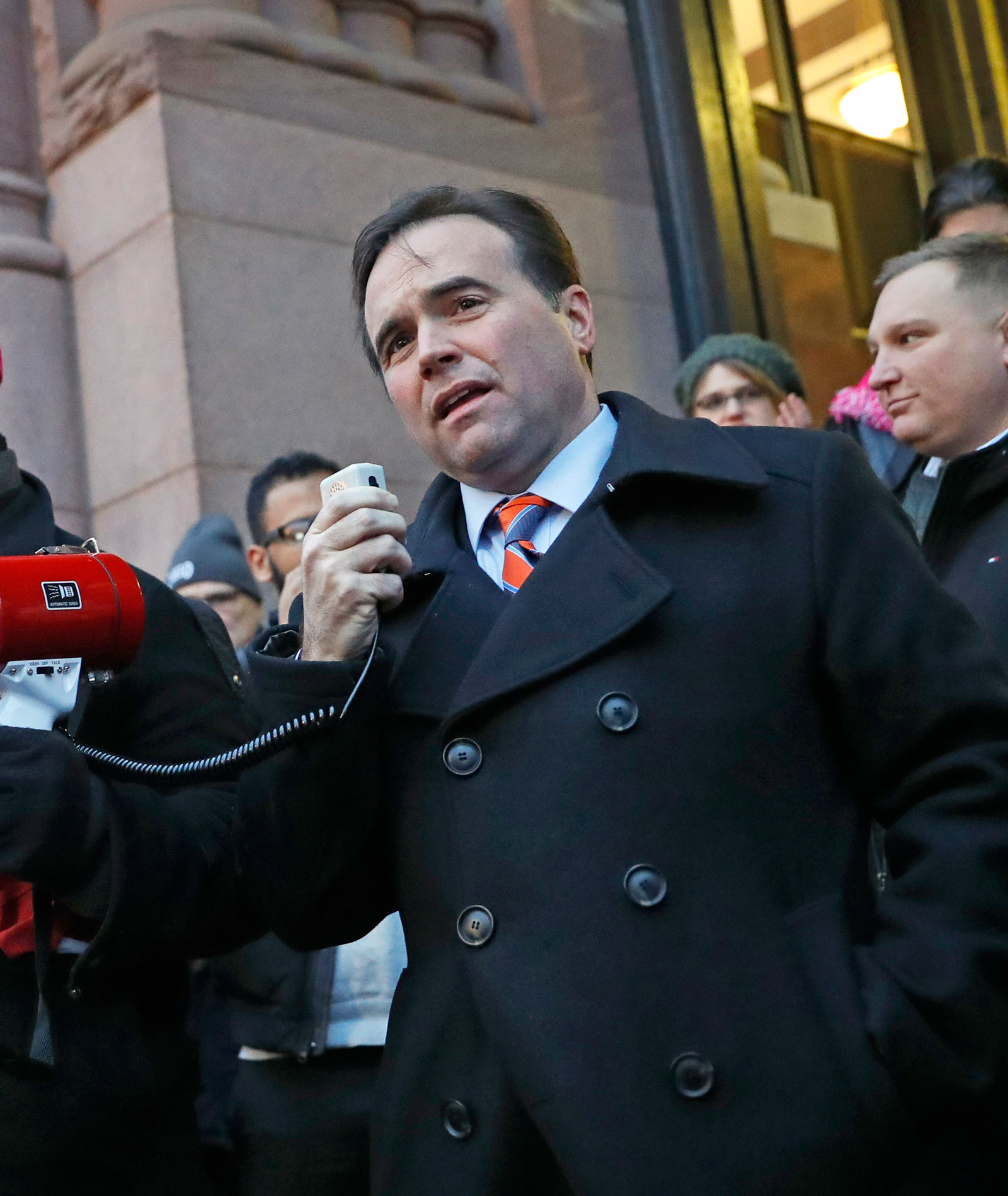 Mayor John Cranley at a protest against the immigration order, Cincinnati, Ohio, January 30, 2017