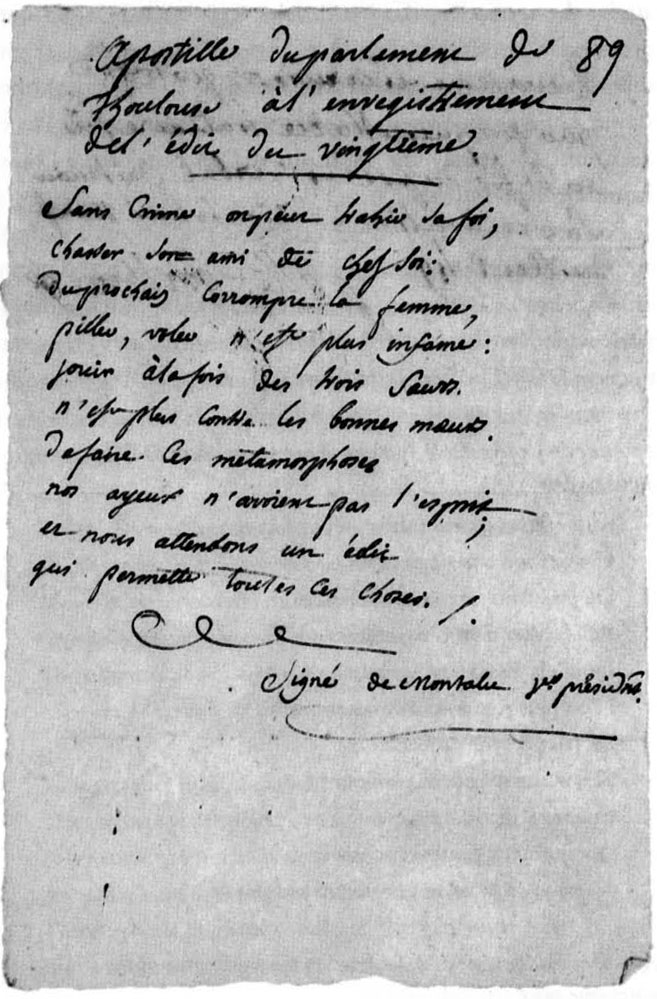 A verse protesting the vingtième tax and the immorality of Louis XV, scribbled on a piece of paper, circa 1749