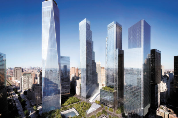A rendering of the new World Trade Center buildings in Lower Manhattan, with the reflecting pools of the National September 11 Memorial in the foreground. Three of the buildings have been completed, including One World Trade Center (far left).