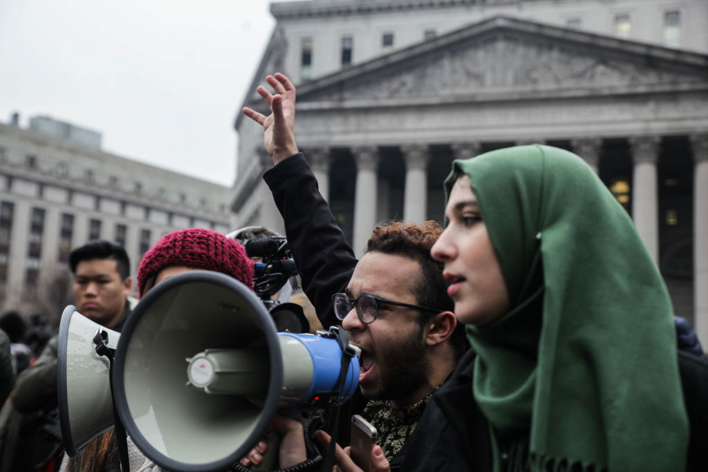 High school students protesting Trump's travel ban at Foley Square, New York City, February 7, 2017