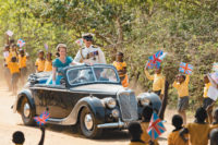 Claire Foy as Princess Elizabeth and Matt Smith as Prince Philip on a visit to Kenya in 1952, shortly before she became queen, in The Crown