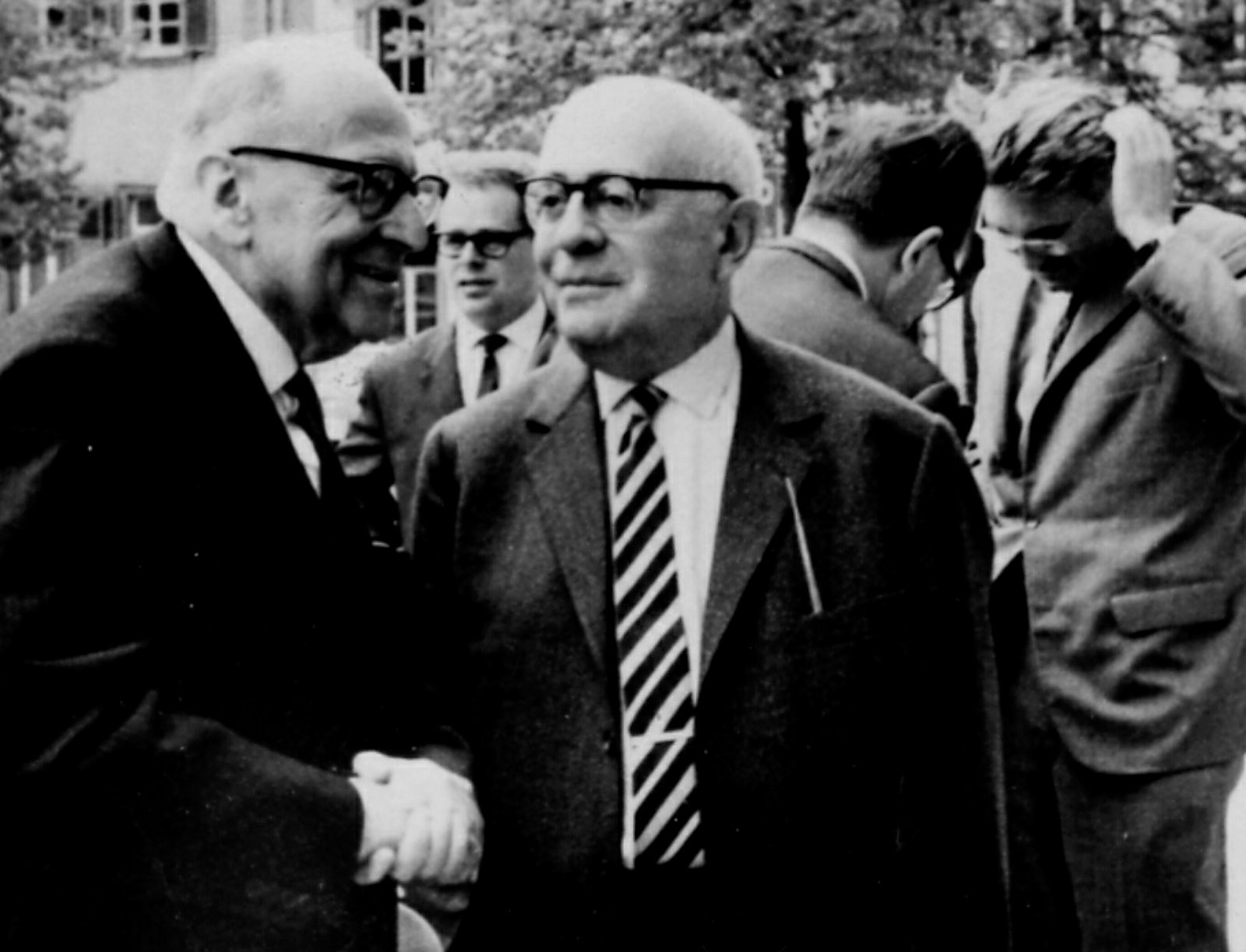 Max Horkheimer and Theodor Adorno (in foreground) with Jürgen Habermas (far right), Heidelberg, April 1964
