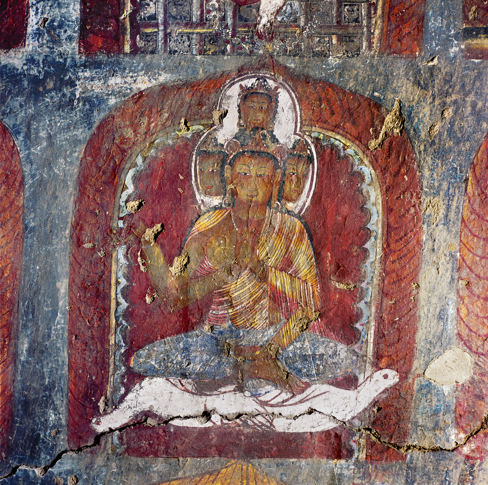 Detail of a wall painting showing Brahma, the God of Creation, with four heads and four arms, riding two geese, Nako, late eleventh to early twelfth century